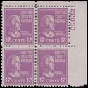 # 817 12c Presidential Issue Zachary Taylor PB/4 1938 Mint NH