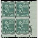 # 825 20c Presidential Issue-James A. Garfield PB/4 1938 Mint NH