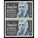 #1270 5c Robert Fulton and the Steamship Clermont 1965 Used Pair