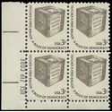 #1584 3c Early Ballot Box Zip Block/4 1977 Mint NH