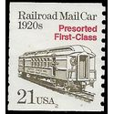 #2265 21c Railroad Mail Car 1920s PNC Single #2 1988 Used