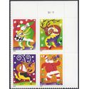 #3821-3824 37c Christmas Music Makers Plate Block of 4 2003 Mint NH