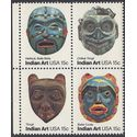 #1834-1837 15c Pacific Northwest Indian Masks Block/4 1980 Mint NH