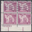 #1043 9c Liberty Issue The Alamo Plate Block/4 1956 Used