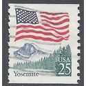 #2280 25c Flag over Yosemite Coil Single 1988 Used