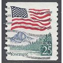#2280a 25c Flag over Yosemite Coil Single 1988 Used