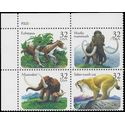 #3077-3080 32c Prehistoric Animals PB/4 1996 Mint NH