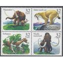 #3077-3080 32c Prehistoric Animals Block of 4 1996 Mint NH