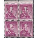 #1036 4c Liberty Issue Abraham Lincoln Block of 4 1958 Used
