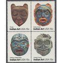 #1834-1837 15c Pacific Northwest Indian Masks Block of 4 1980 Mint NH