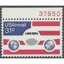 Scott C 90 31c US Air Mail Plane,Globes and Flag P# 1976 Mint NH