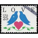 #2440 25c Love Birds and Heart 1990 Used