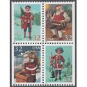 #3004-3007c 32c Santa and Children Booklet Block of 4 1995 Mint NH